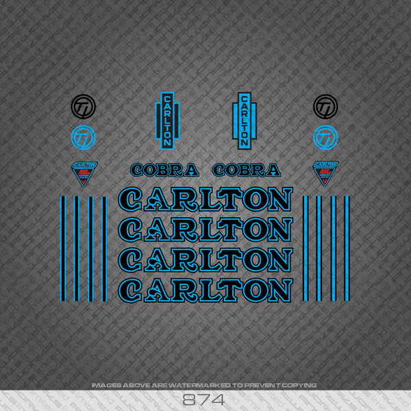 Carlton Cobra Bicycle Decals - Black/Blue