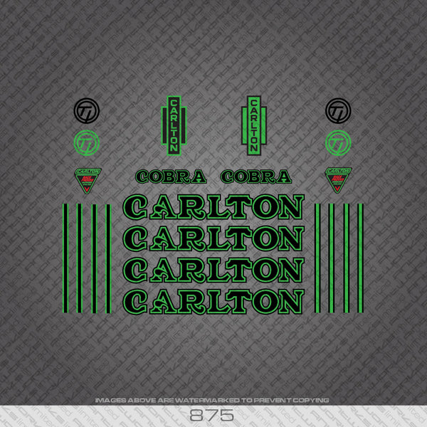 Carlton Cobra Bicycle Decals - Black/Green