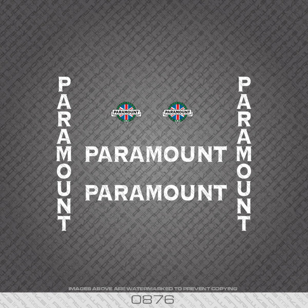 Paramount Bicycle Decals - White Lettering