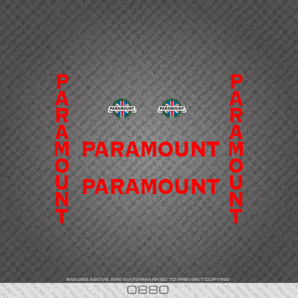 Paramount Bicycle Decals - Red Lettering