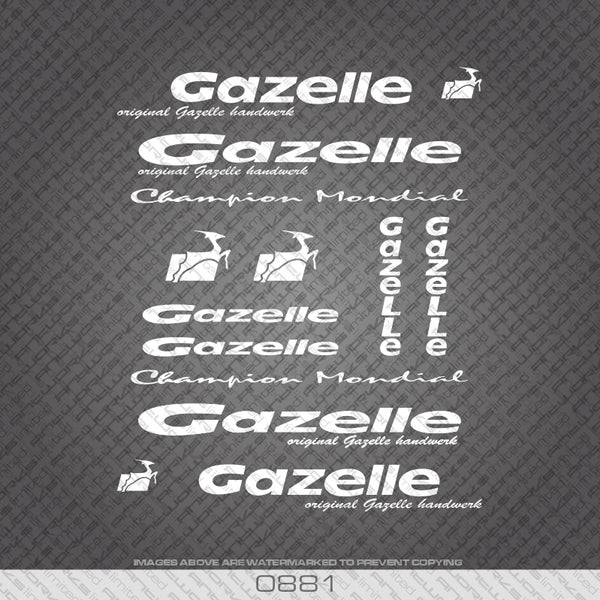 Gazelle White Frame Bicycle Decals