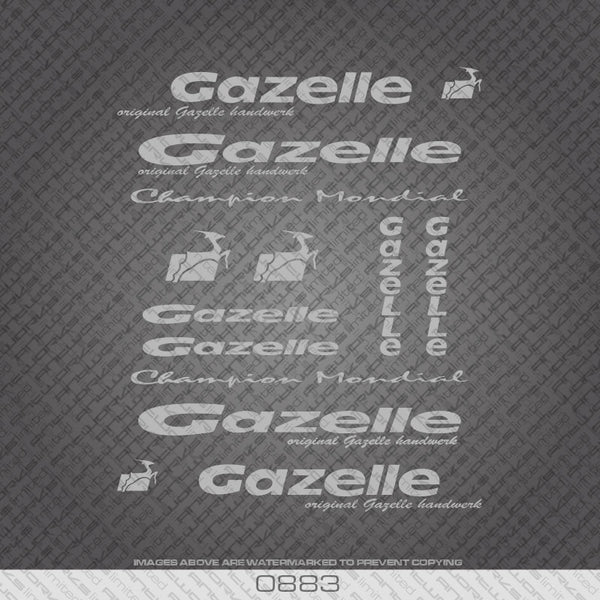 Gazelle Silver Frame Bicycle Decals