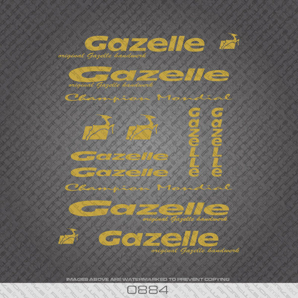 Gazelle Gold Frame Bicycle Decals