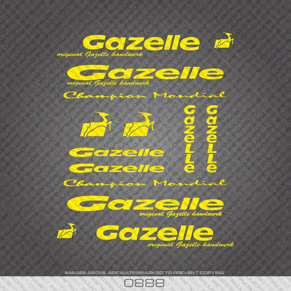 Gazelle Yellow Frame Bicycle Decals