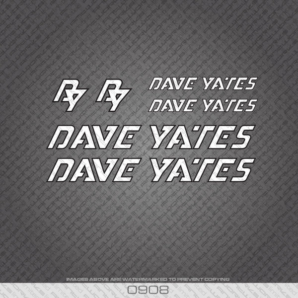 Dave Yates White with Black Keyline Bicycle Decals