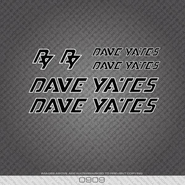 Dave Yates Black with White Keyline Bicycle Decals