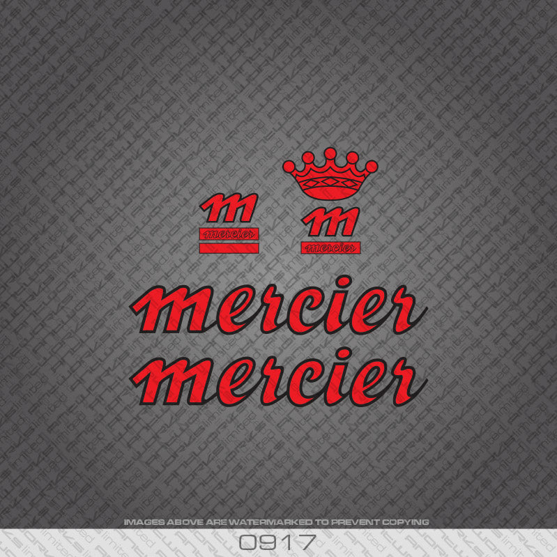 1980's Mercier Bicycle Decals - Red / Black