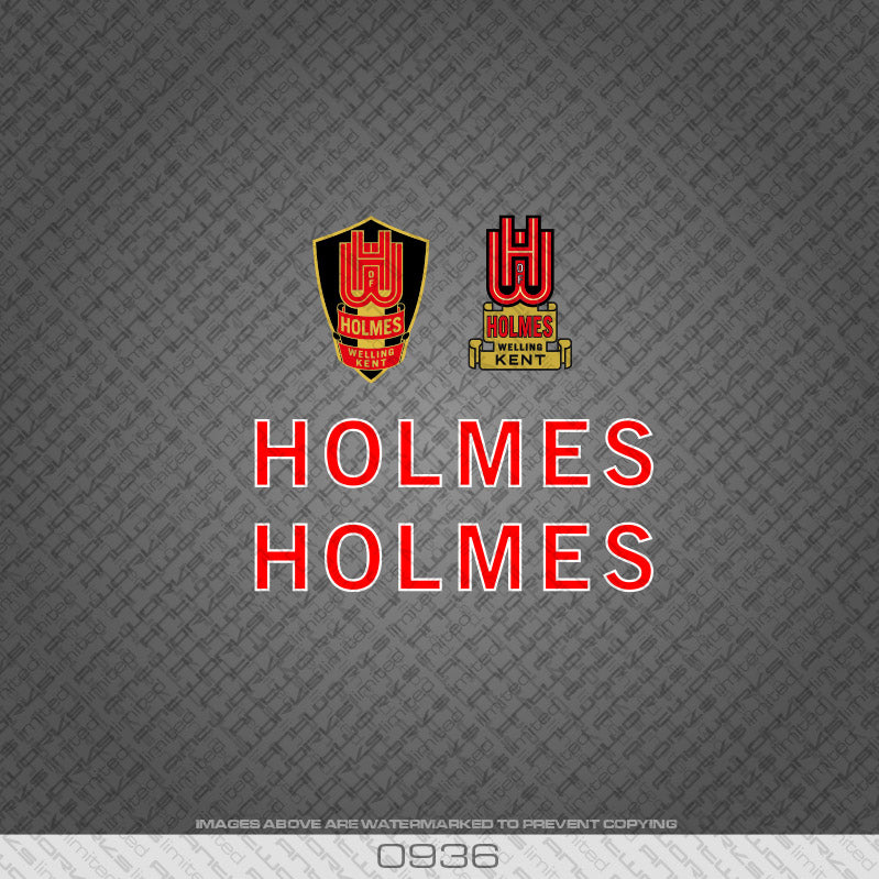 Holmes of Welling Red and White Bicycle Decals