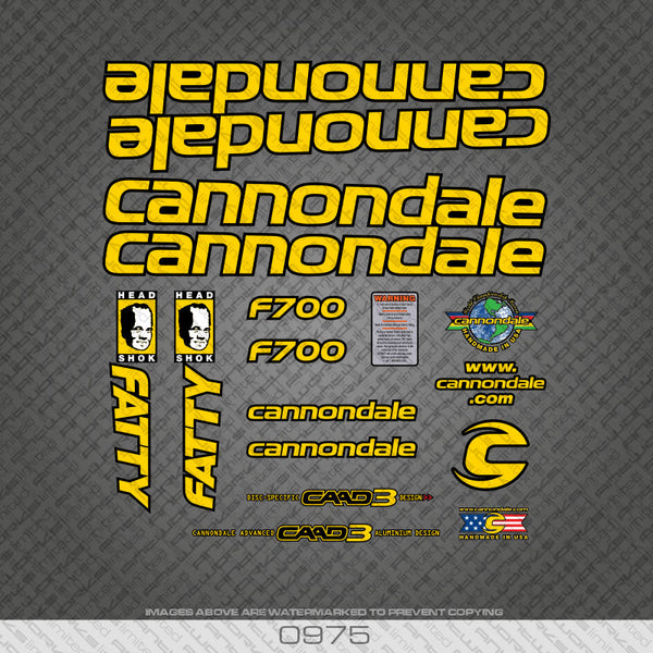 Cannondale F700 Fatty MTB Bicycle Decals - Yellow