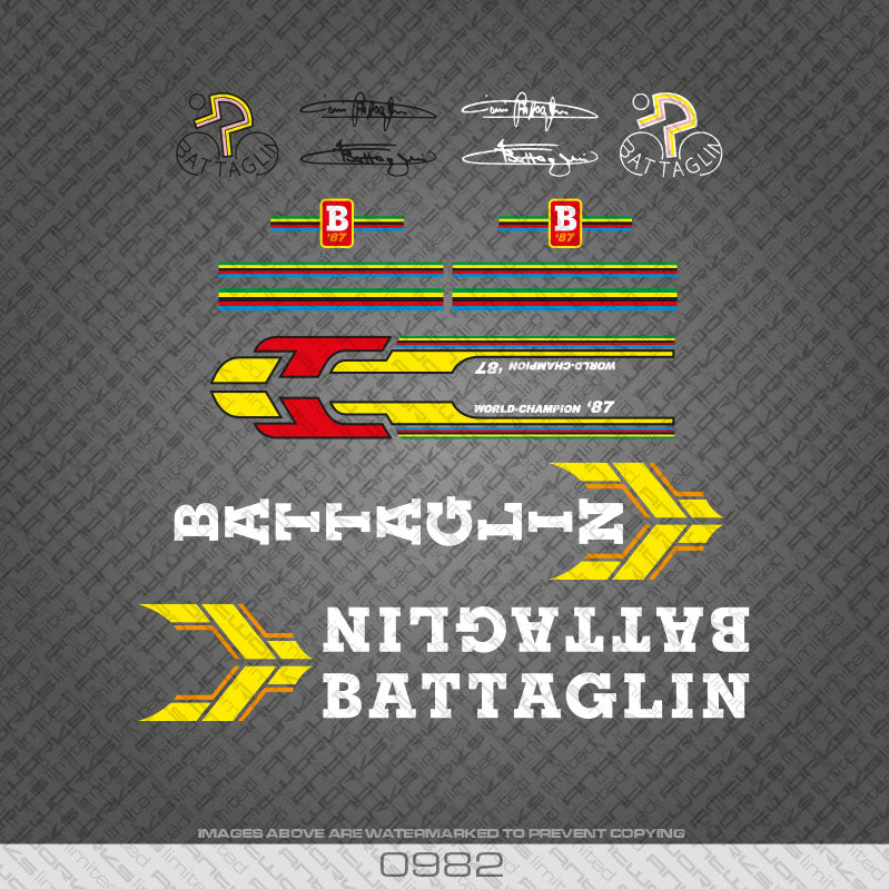 Battaglin Bicycle Decals 1987 World Champion - White with Yellow