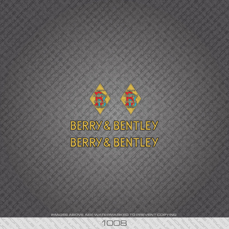 Berry And Bentley Bicycle Decals - www.bicyclestickers.co.uk