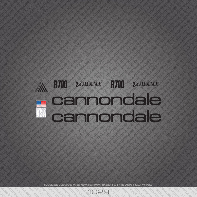 Cannondale R700 Bicycle Decals - Black - www.bicyclestickers.co.uk