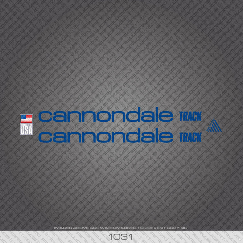 Cannondale Track Bicycle Decals - Blue - www.bicyclestickers.co.uk