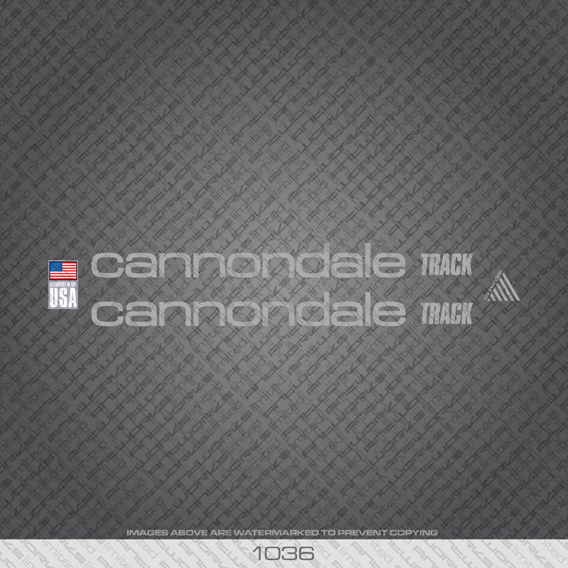 Cannondale Track Bicycle Decals - Silver - www.bicyclestickers.co.uk