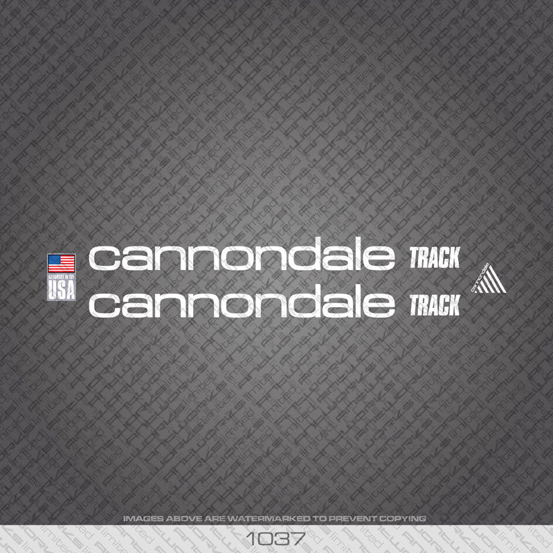 Cannondale Track Bicycle Decals - White - www.bicyclestickers.co.uk