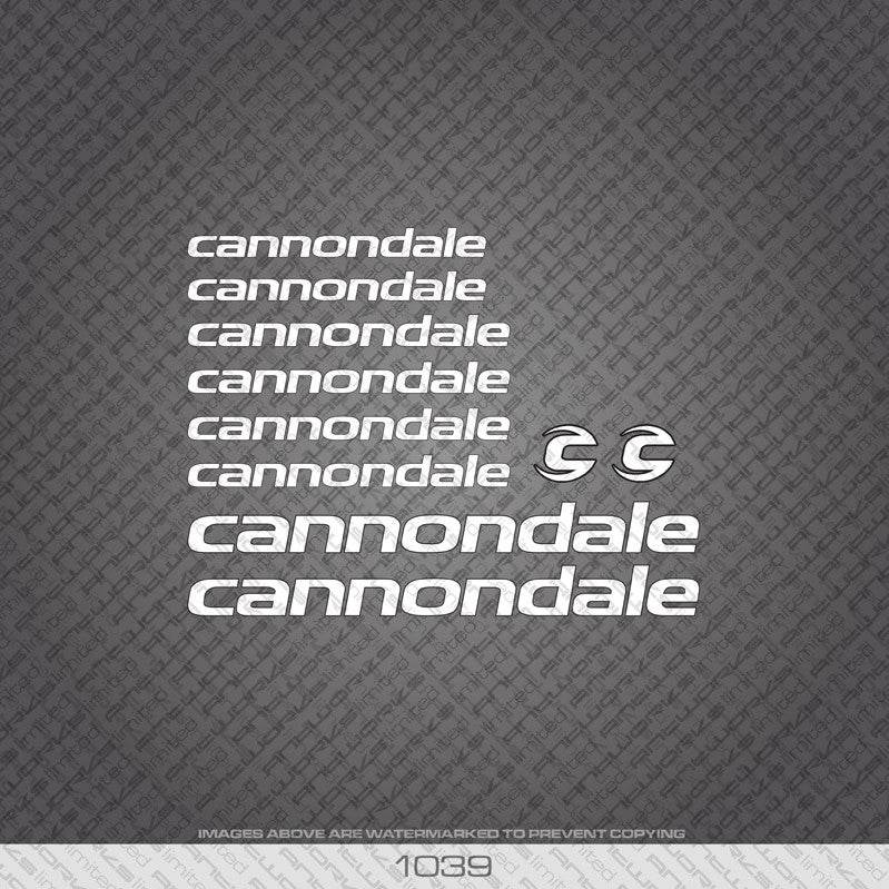 Cannondale Bicycle Decals - White Lettering With Black Keyline - www.bicyclestickers.co.uk