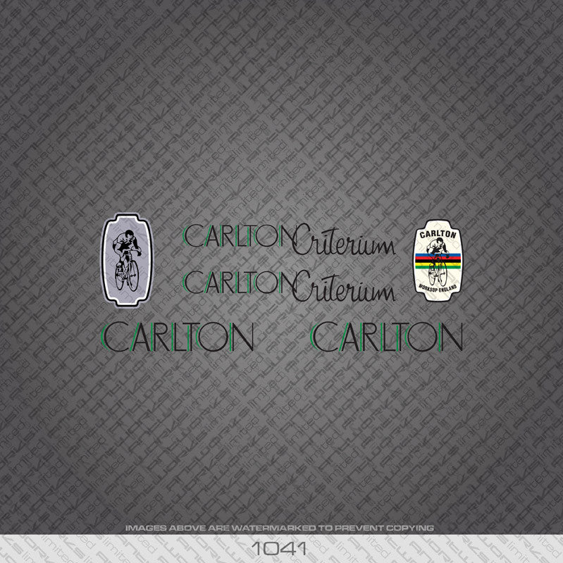 Carlton Criterium Bicycle Decals - Black/Green Lettering - www.bicyclestickers.co.uk