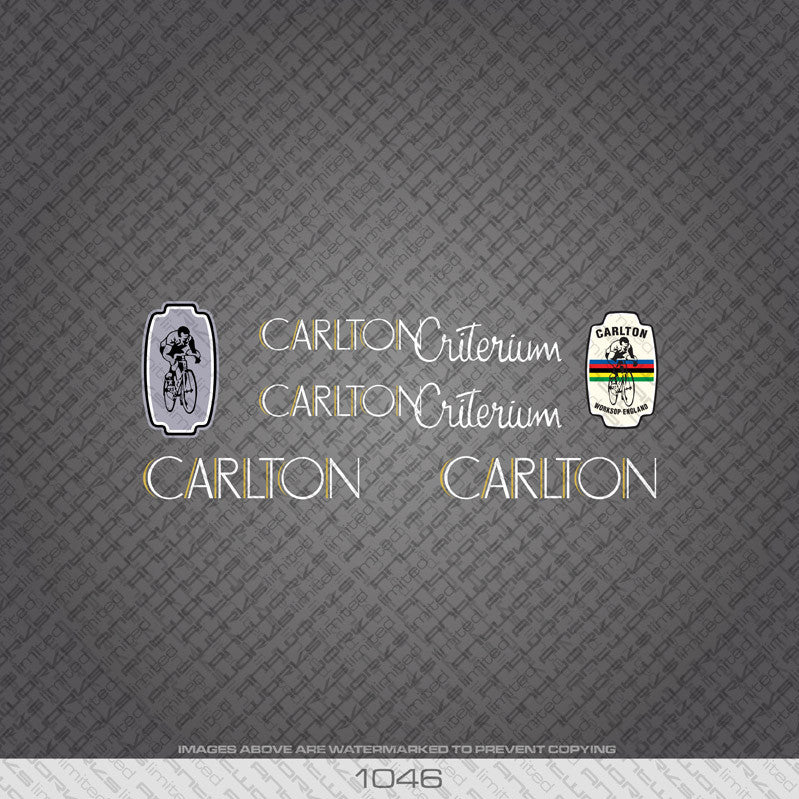 Carlton Criterium Bicycle Decals - White/Gold Lettering - www.bicyclestickers.co.uk