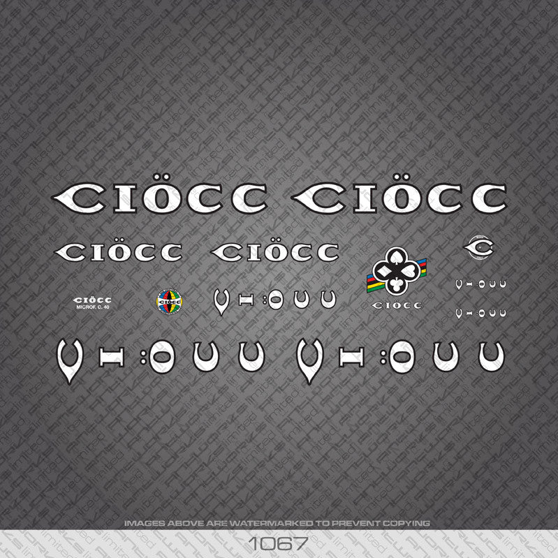 Ciocc Bicycle Decals - White with Black Keyline - www.bicyclestickers.co.uk