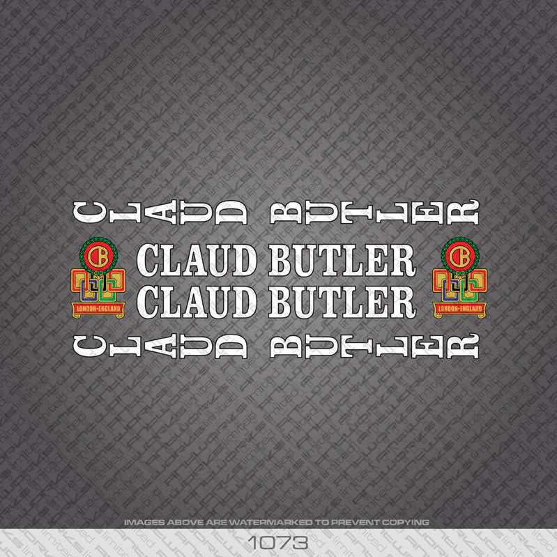 Claud Butler Bicycle Decals - White Lettering With Black Keyline - www.bicyclestickers.co.uk