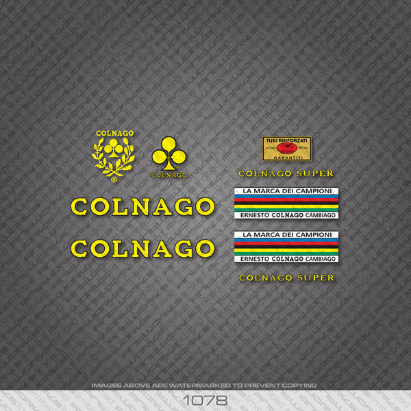 Colnago Super Bicycle Decals - Yellow With Black Keyline - www.bicyclestickers.co.uk