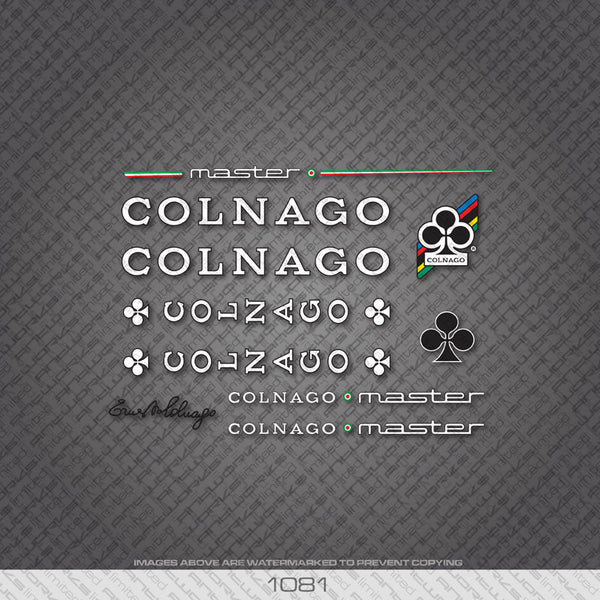 Colnago Master Bicycle Decals - White Letters With Black Keyline - www.bicyclestickers.co.uk