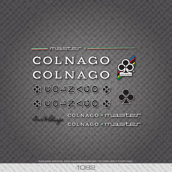 Colnago Master Bicycle Decals - White With Black Keyline - www.bicyclestickers.co.uk