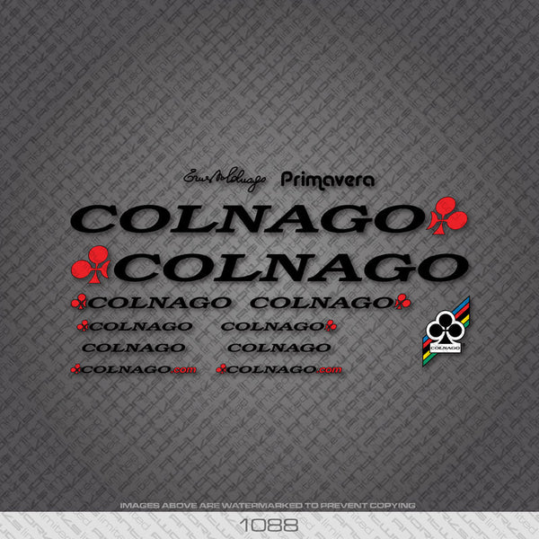 Colnago Primavera Bicycle Decals - Black Lettering - www.bicyclestickers.co.uk