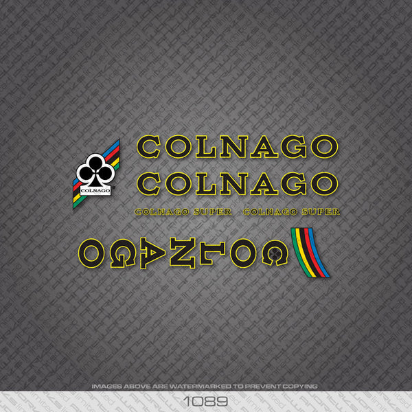 Colnago Super Bicycle Decals - Black Lettering With Yellow Keyline - www.bicyclestickers.co.uk