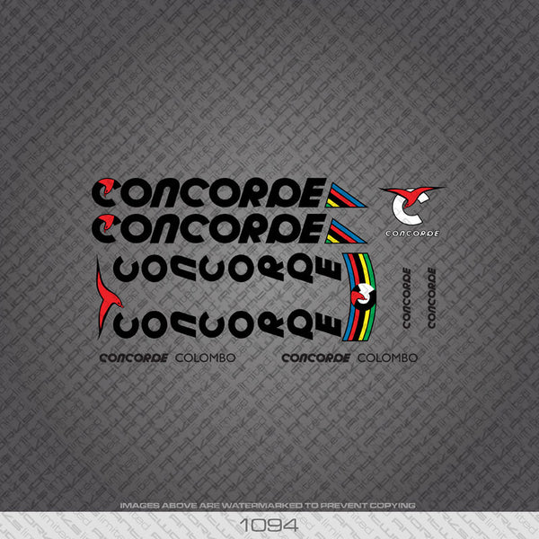 Concorde Colombo Bicycle Decals - Black Lettering - www.bicyclestickers.co.uk