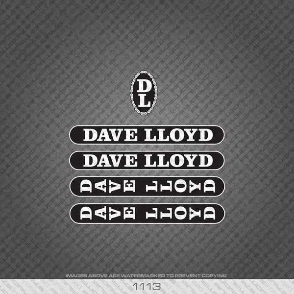 Dave Lloyd Bicycle Decals - White Lettering With Black Background - www.bicyclestickers.co.uk