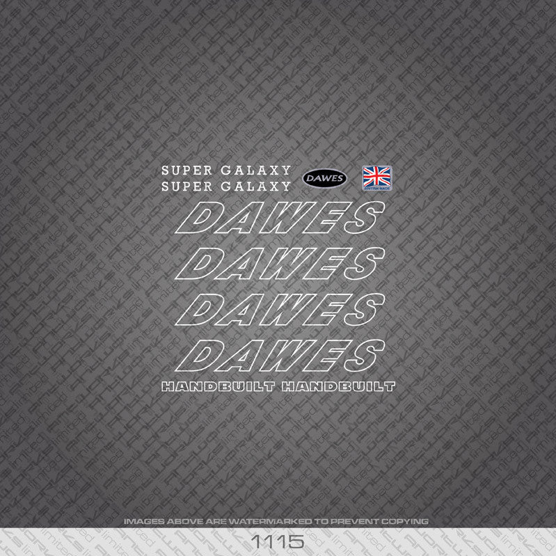 Dawes Super Galaxy Bicycle Decals - White - www.bicyclestickers.co.uk