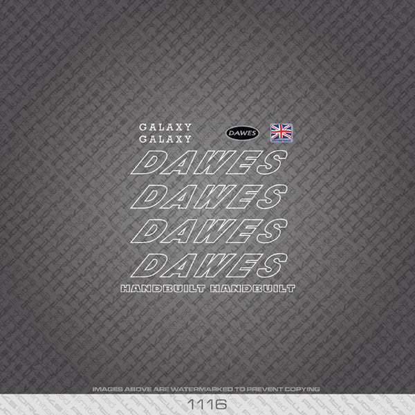 Dawes Galaxy Bicycle Decals - White - www.bicyclestickers.co.uk