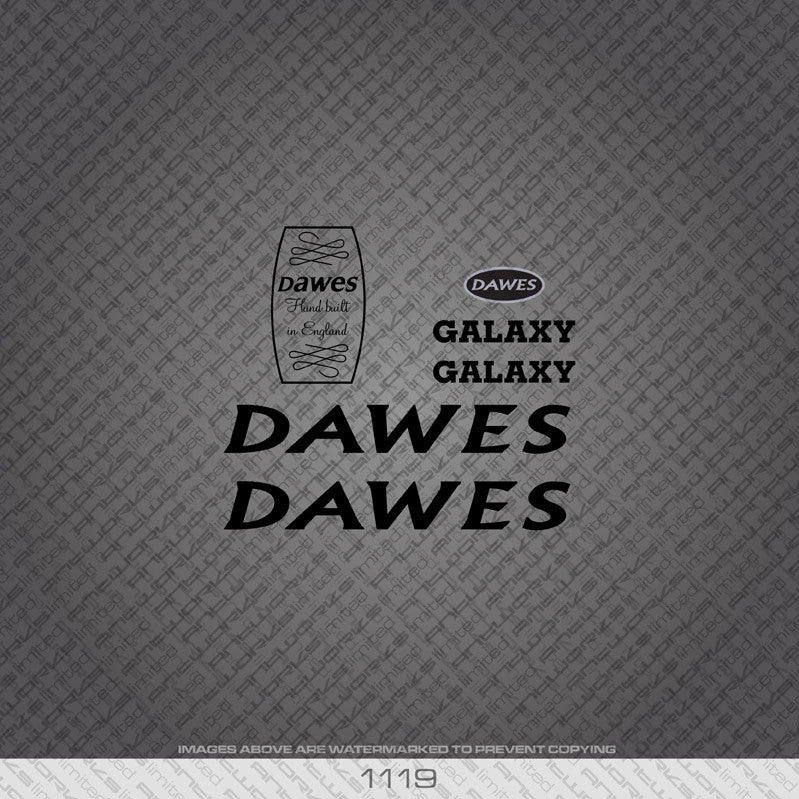 Dawes Galaxy Bicycle Decals - Black - www.bicyclestickers.co.uk