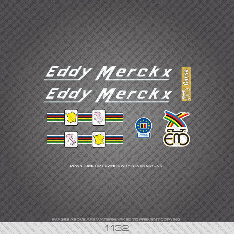 Eddy Merckx Corsa Bicycle Decals - White Lettering With Silver Keyline - www.bicyclestickers.co.uk