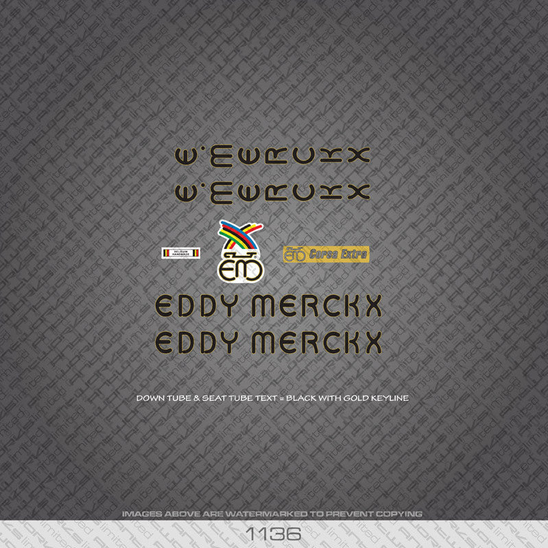 Eddy Merckx Corsa Extra Bicycle Decals - Black With Gold Keyline - www.bicyclestickers.co.uk