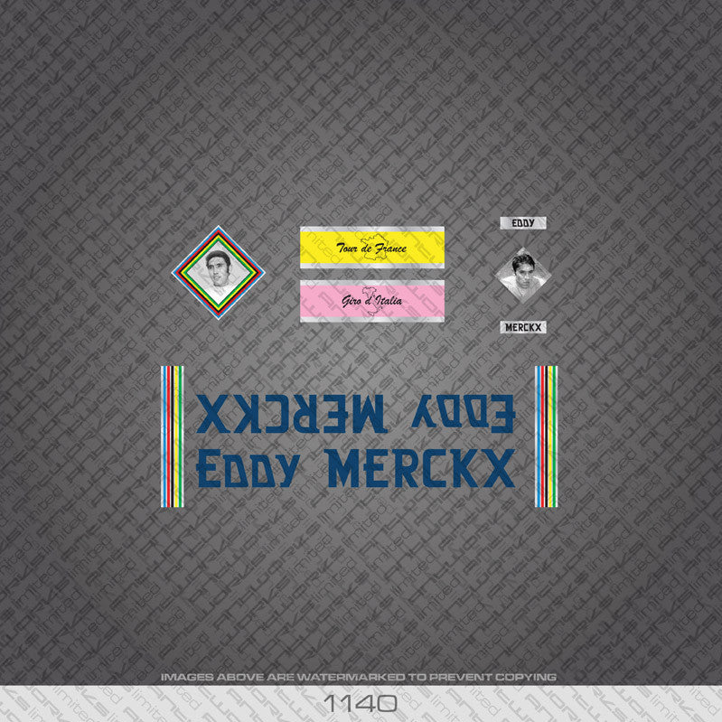 Eddy Merckx Bicycle Decals - Blue Lettering - www.bicyclestickers.co.uk
