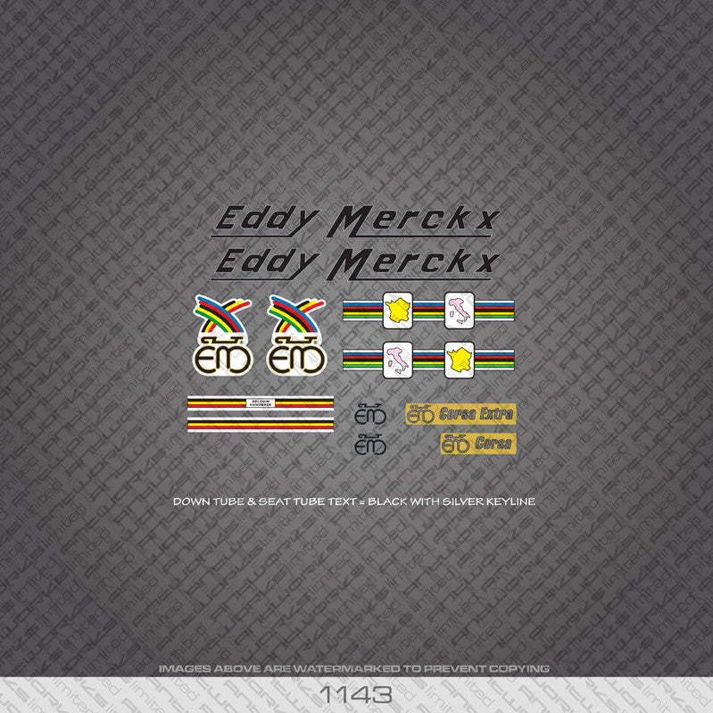 Eddy Merckx Corsa Extra Bicycle Decals - Black With Silver Keyline - www.bicyclestickers.co.uk