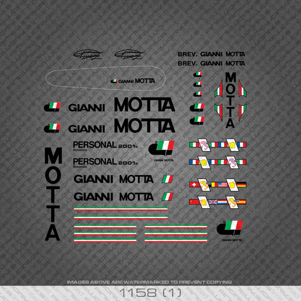 Gianni Motta Bicycle Decals - Black Lettering