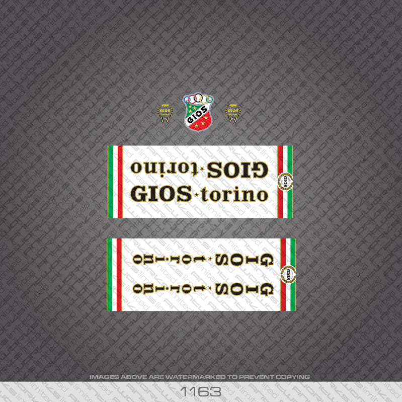 Gios Torino Bicycle Decals - White Panels - www.bicyclestickers.co.uk