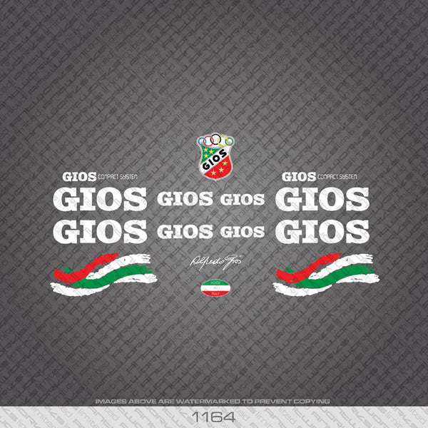 Gios Compact System Bicycle Decals - White Lettering - www.bicyclestickers.co.uk