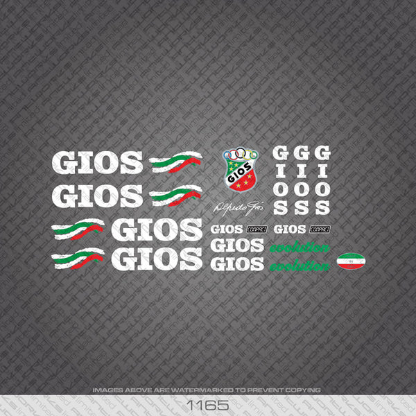 Gios Evolution Bicycle Decals - White Lettering - www.bicyclestickers.co.uk