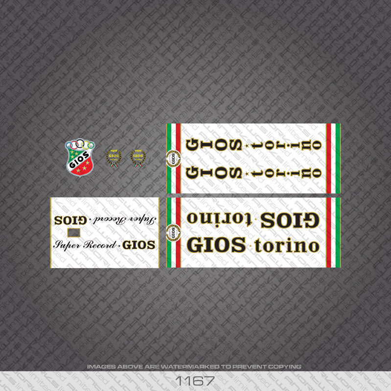 Gios Torino Super Record Bicycle Decals - www.bicyclestickers.co.uk