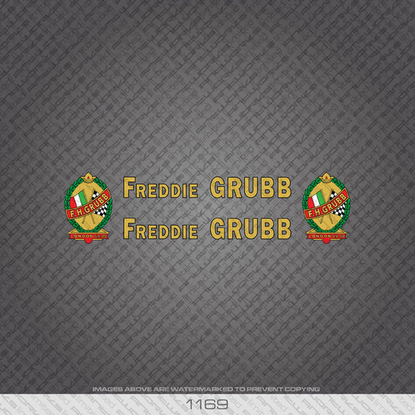 F H Grubb Bicycle Decals - Gold Lettering With Black Keyline - www.bicyclestickers.co.uk