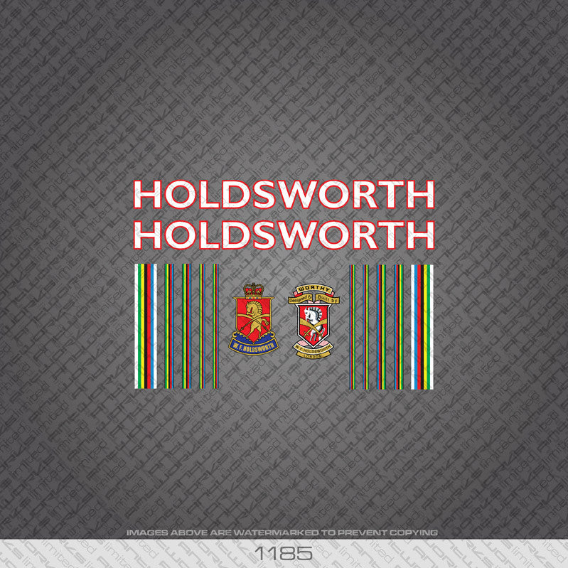 Holdsworth Professional Bicycle Decals - White With Red Keyline - www.bicyclestickers.co.uk