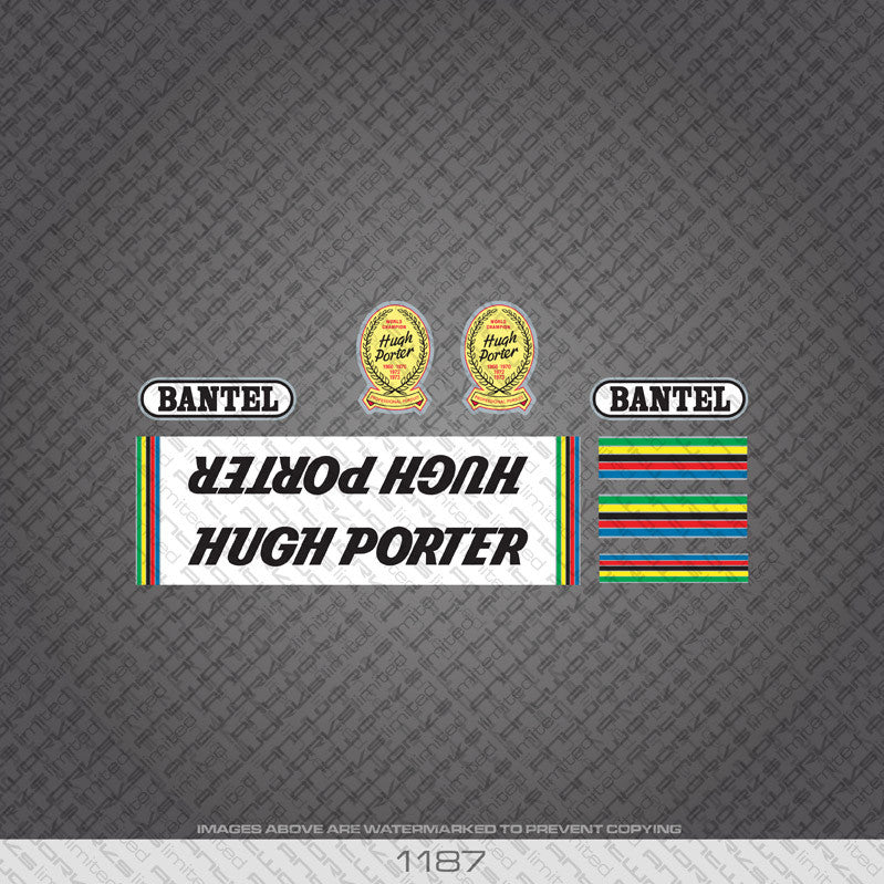 Hugh Porter Bicycle Decals - Black Lettering On White Panels - www.bicyclestickers.co.uk