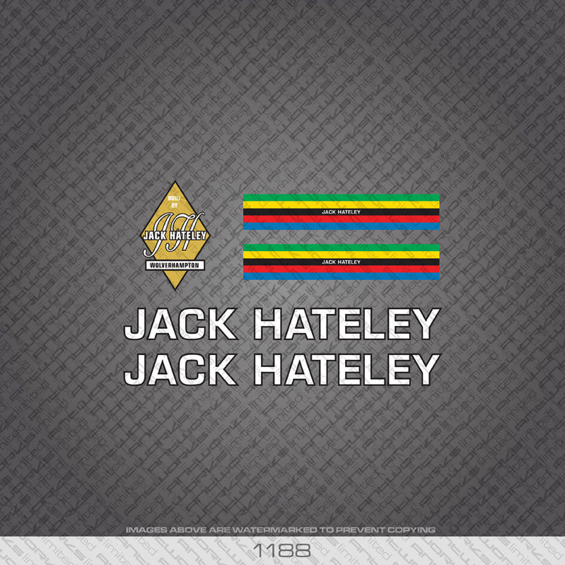 Jack Hateley Bicycle Decals - White Lettering With Black Keyline - www.bicyclestickers.co.uk