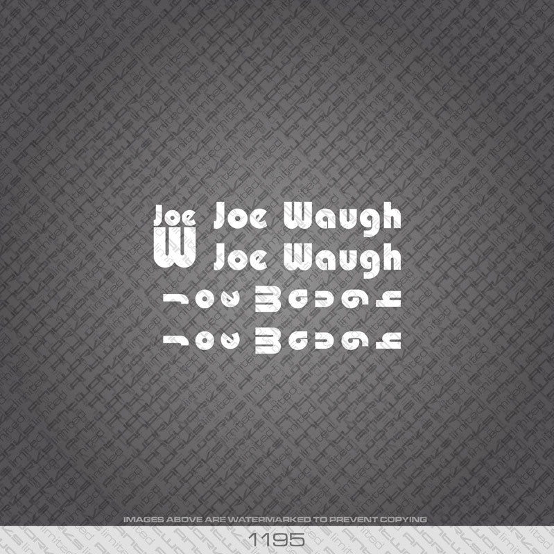 Joe Waugh Bicycle Decals - White Lettering - www.bicyclestickers.co.uk