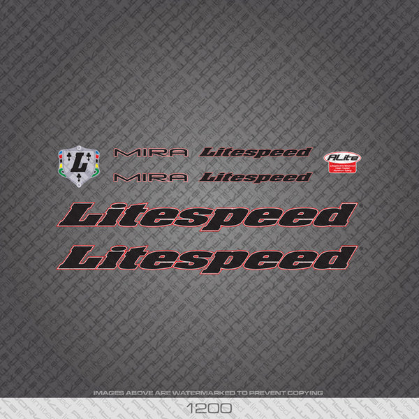 Litespeed Mira Bicycle Decals - Black - www.bicyclestickers.co.uk