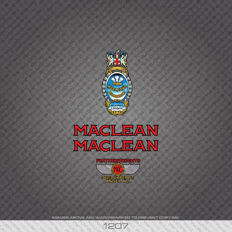 Maclean Bicycle Decals - Red - www.bicyclestickers.co.uk
